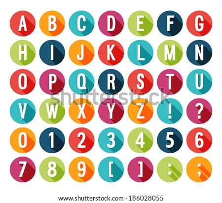 Flat icons alphabet. Vector illustration. - stock vector