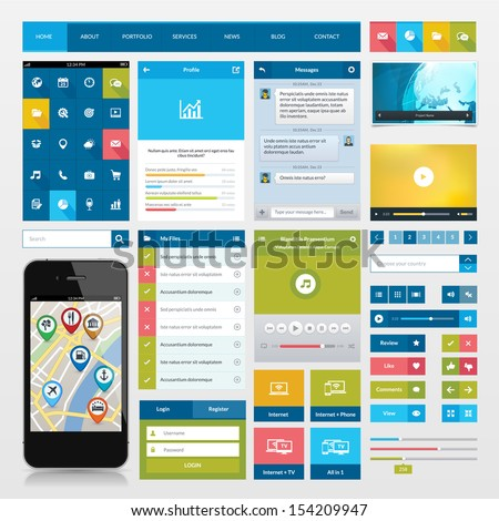 Flat Icons Ui Web Elements Mobile Stock Vector 154209947 ...