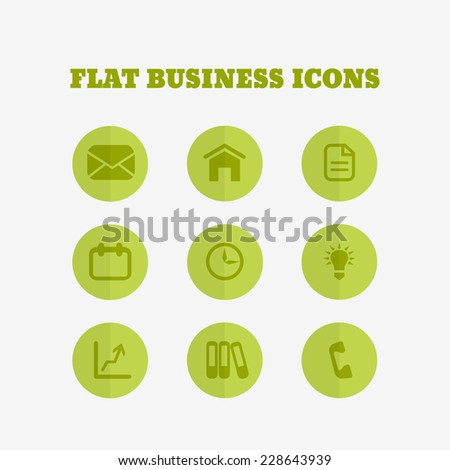 Flat icons collection. Business set. Vector illustration - stock vector