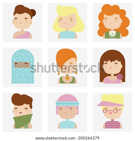 Flat icons collection of various attractive female people characters in cute kawaii style. Modern design vector illustration set.  Isolated on white background.  - stock vector