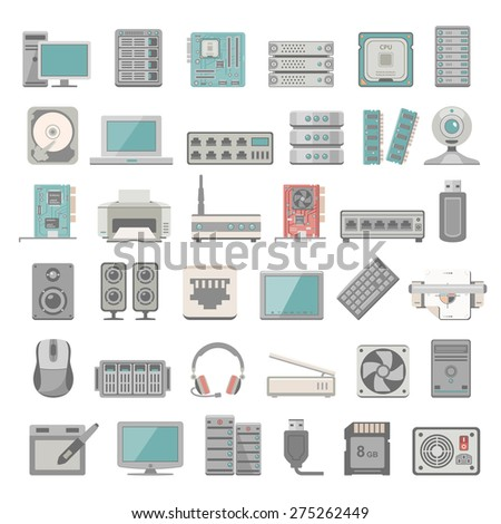 Flat Icons - Computer and Network Hardware - stock vector