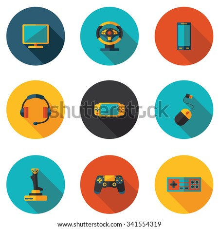 flat icons computer games - stock vector