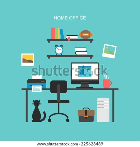 Flat icons design for modern home office concept - stock vector