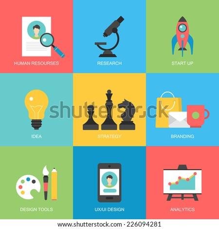 Flat icons design for modern website development - stock vector