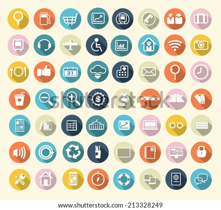 Flat icons design modern vector illustration. - stock vector