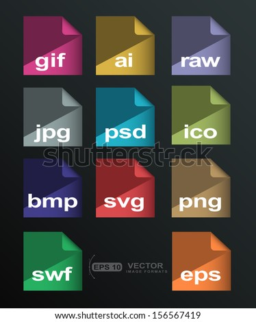Flat icons extension image formats  with long shadow - stock vector