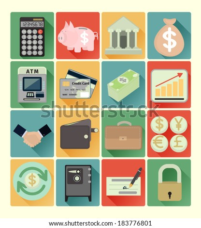 Flat icons finance set - stock vector