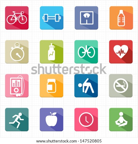 Flat icons fitness healthcare and white background - stock vector