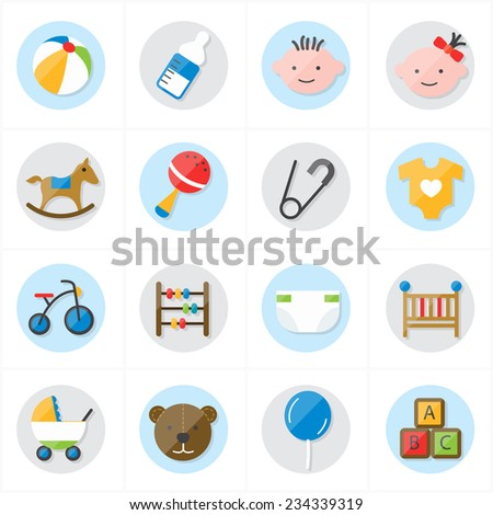 Flat Icons For Baby Icons and Toys Icons Vector Illustration - stock vector