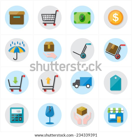 Flat Icons For Business Icons and Ecommerce Icons Vector Illustration - stock vector