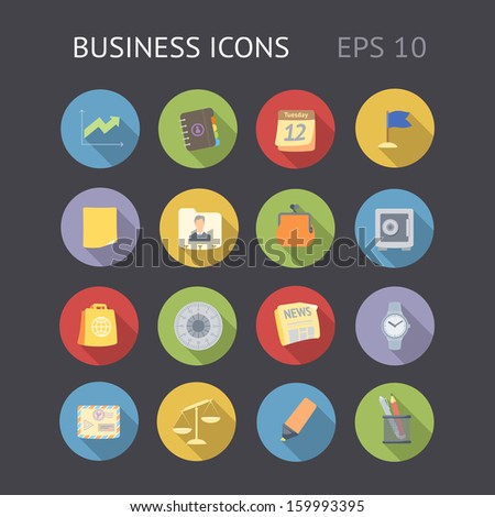 Flat icons for business. Vector eps10 contains objects with transparency.