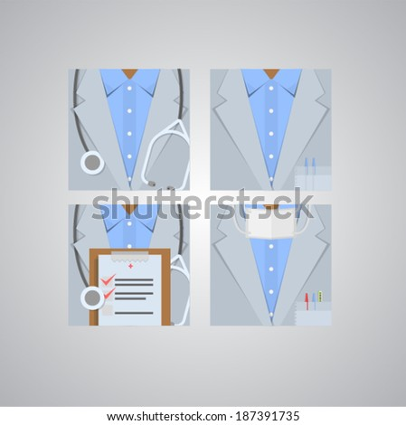 Flat icons for doctor. Four square flat icons for doctor. - stock vector