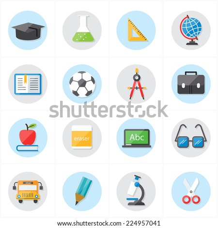 Flat Icons For Education Icons and School Icons Vector Illustration - stock vector