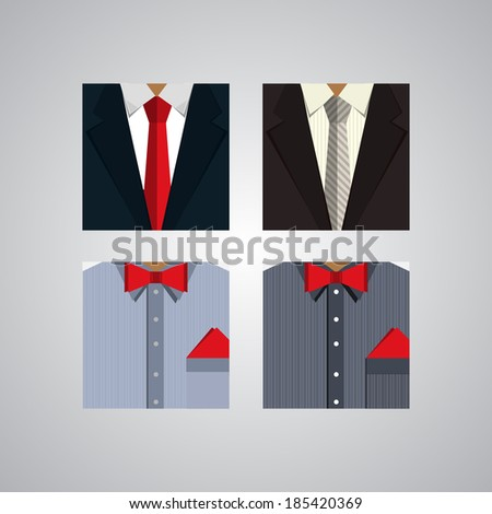 Flat icons for formal wear - stock vector