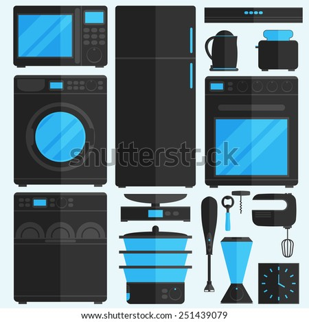 Flat icons for kitchen appliances.  - stock vector