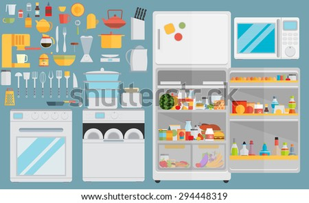 Flat icons for kitchen appliances. Set of gray flat icons with household appliances for kitchen - stock vector
