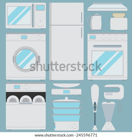 Flat icons for kitchen appliances. Set of gray flat icons with household appliances for kitchen on blue background. - stock vector