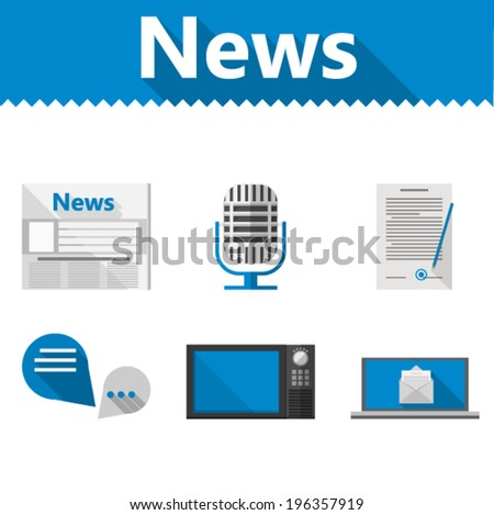 Flat icons for news. Set of icons with blue and gray elements for news on white background. - stock vector