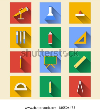 Flat icons for school supplies - stock vector