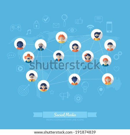 Flat icons for social media and network connection concept. Vector illustration