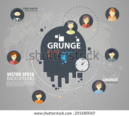 Flat icons for social media and network connection concept. Vector illustration - stock vector