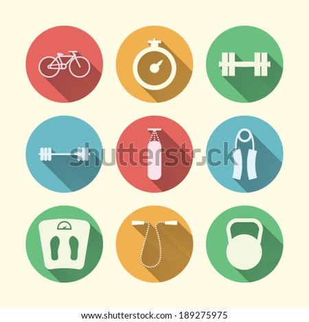 Flat icons for sport. Nine circle colored icons for sport on white. - stock vector
