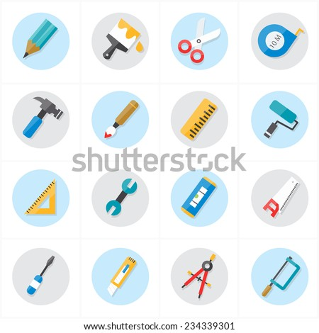 Flat Icons For Tools Related Icons Vector Illustration - stock vector