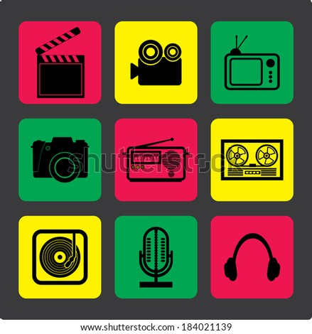 flat icons for web - stock vector