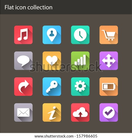 Flat Icons for Web and Mobile Applications - stock vector