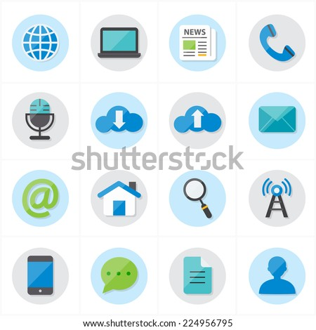 Flat Icons For Web Icons and Internet Icons Vector Illustration - stock vector