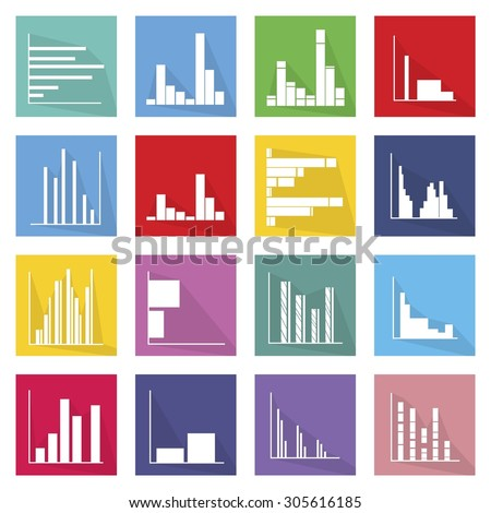 Flat Icons, Illustration Set of 16 Infographics Elements Business Bar Chart and Graph Icon Labels.