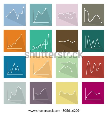 Flat Icons, Illustration Set of 16 Infographics LinearRegression Chart and Graph Icon Labels.