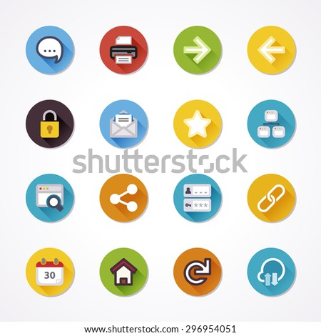 Flat icons in a circle with long shadow about web - stock vector