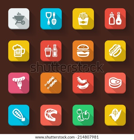 Flat icons in a square with long shadow about  barbecue. - stock vector