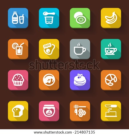 Flat icons in a square with long shadow about breakfast - stock vector