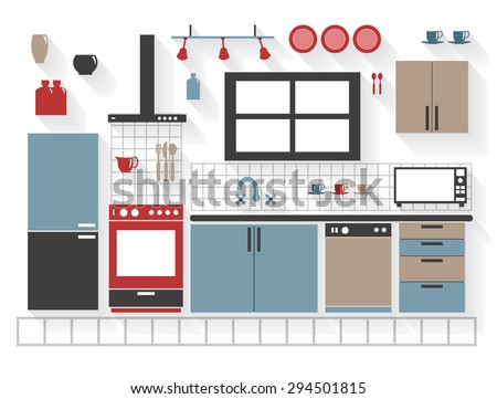 Flat Icons Kitchen Furniture with Appliances and Cupboards - All Long Shadows on one layer - contains blends  - stock vector