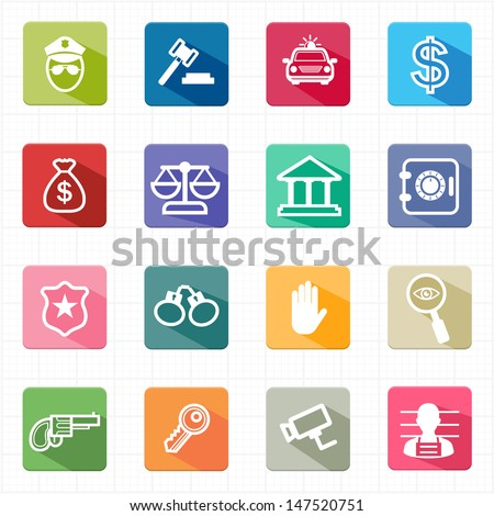 Flat icons law justice and white background - stock vector
