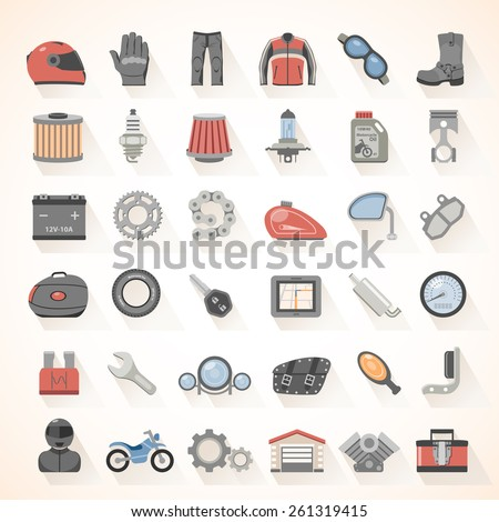 Flat Icons - Motorcycle Gear and Accessories - stock vector