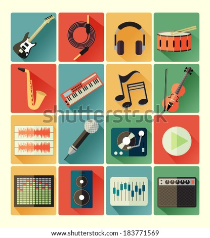 Flat icons music set - stock vector