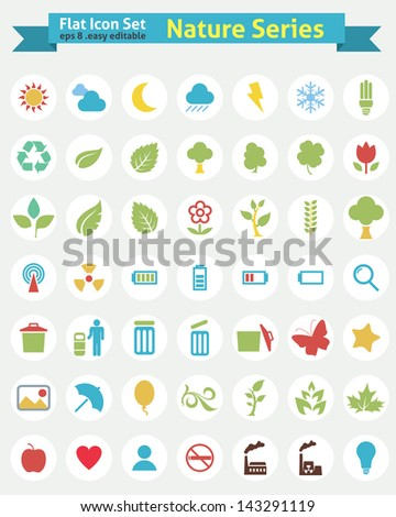 Flat Icons -- Nature Series - stock vector