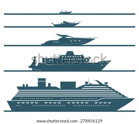 Flat icons of boats ranked by size. Set of different types of boats in flat design style. Vector illustration. - stock vector