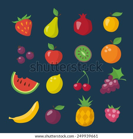 Flat icons of different fruits on dark background