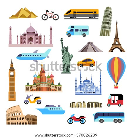 Flat icons of famous landmarks and different travel transports - stock vector