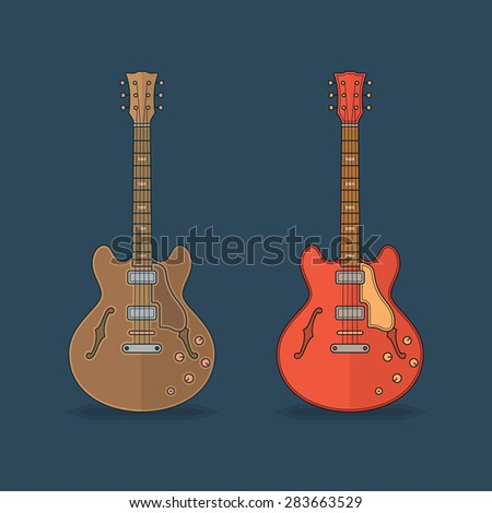 Flat icons of guitar. Vector flat illustration - stock vector