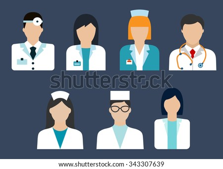 Flat icons of medical professions with doctor, therapist, surgeon, dentist, pharmacist and nurse avatars