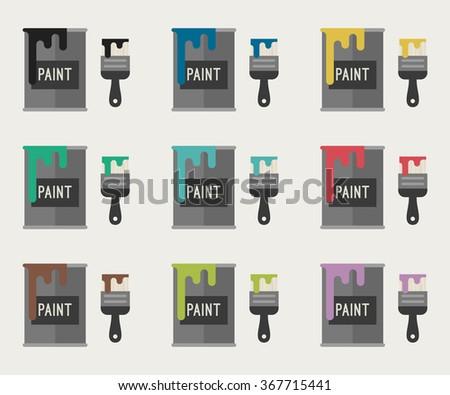 Flat Icons of paint buckets with paint brushes in different colors. Vector illustration. - stock vector