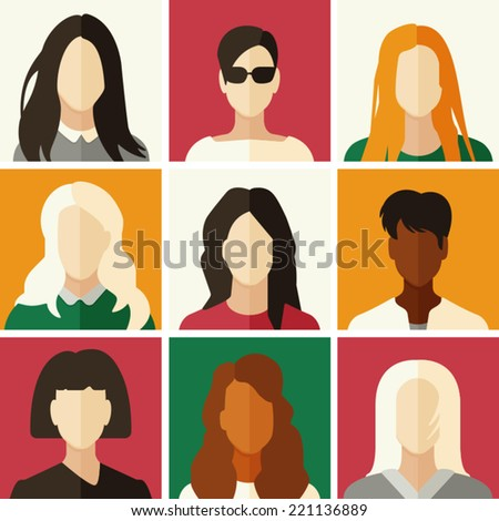 Flat icons of people. Vector illustration for your design. - stock vector