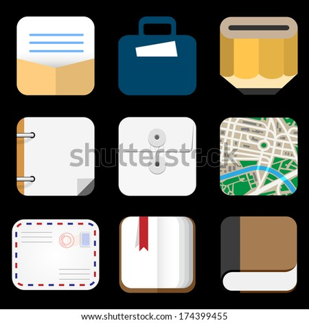 Flat Icons of web and mobile applications objects, business, office items. Vector collection - stock vector