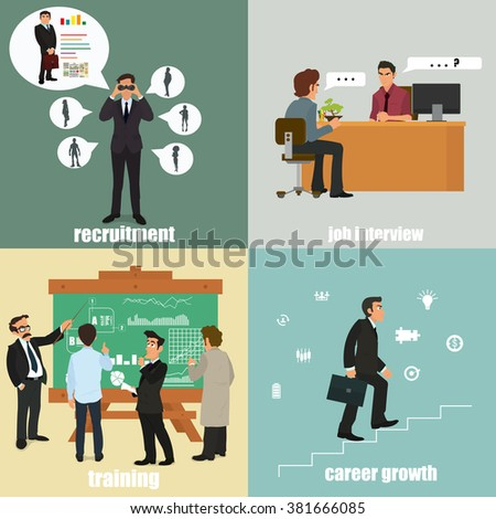 flat icons on the themes: recruitment, training, career and interview. vector illustration. - stock vector
