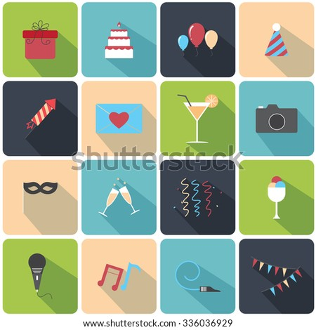 Flat icons Party set - stock vector
